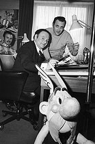 From left to right: Marcel Uderzo, Albert Uderzo, René Goscinny and Asterix the Gaul. © Jack Nisberg/Roger-Viollet