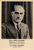 Arpen Davidian (1900-1944), Armenian hero, member of the Manouchian group in Paris, who was shot by the Germany army on February 21, 1944. © Archives Manouchian / Roger-Viollet