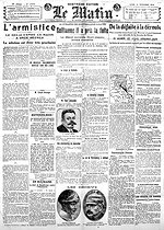 "World War I. Front page of the newspaper ""Le Matin"" of November 11, 1918, announcing Germany's upcoming signing of the armistice. © Roger-Viollet"