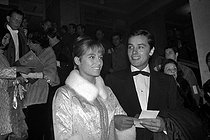 "Nathalie and Alain Delon, French actors, at the premiere of ""Is Paris Burning?"" by René Clément. Paris, 1967. © Noa / Roger-Viollet"