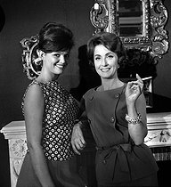 "Danielle Darrieux and Claudia Cardinale during the shooting of ""Les Lions sont lâchés"" by Henri Verneuil. France, 1961. © Alain Adler / Roger-Viollet"
