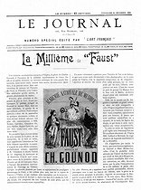 """The 1000th performance of """"Faust"""" by Goethe and composed by Charles Gounod, at the Opéra de Paris. Front page of the newspaper """"Le Journal"""", on December 14, 1894. © Roger-Viollet"""