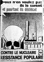 Poster of the PSU (Unified Socialist Party) against nuclear power. France, April 1975. © Roger-Viollet