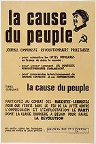 """La cause du peuple"" (yellow model), French newspaper. Poster, May 1968. Paris, musée Carnavalet. © Musée Carnavalet / Roger-Viollet"