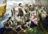 """Christophe Colomb (1451-1506), navigateur génois, à Palos de la Frontera (Huelva) avant son départ pour le premier voyage dans le """"Nouveau Monde"""". 3 août 1492. Lithographie du XIXème siècle. © Ullstein Bild / Roger-Viollet"""