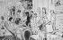 Un soirée chez Paul Verlaine en 1889 (H. d'Argis, Verlaine, Jean Moréas, G. Vicaire, Jules Tellier, Sophie Harlay, Paterne Berrichon, Rachilde, L. Tailhade, Villiers de l'Isle-Adam, Cazals, F. Clerget et Ary Renan. Dessin de F.A. Cazals (1865-1941).      © Collection Harlingue / Roger-Viollet