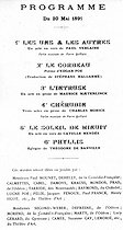 "Bulletin of subscription opened by ""L'Echo de Paris"" for a representation of the shows given in aid of Paul Verlaine and Paul Gauguin (programme). Paris, Art theatre, 20th of May 1891. © Roger-Viollet"