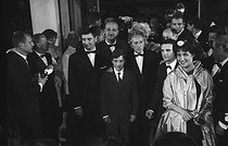 "Presentation of ""Les 400 coups"" at Cannes Film Festival. From left to right: Albert Rémy, Jean-Pierre Léaud, Jean Cocteau, François Truffaut and Claire Maurier. 1959. © Roger-Viollet"