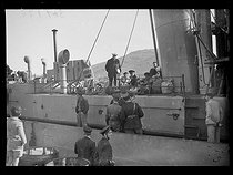 """Spanish Civil War (1936-1939). """"La Retirada"""". French sailors disarming a Spanish coastguard ship in the port of Port-Vendres (France), on January 29, 1939. Photograph from the Excelsior newspaper.$$$ © Excelsior – L'Equipe/Roger-Viollet"""