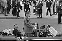 The president De Gaulle and Georges Pompidou in the Etoile. Paris, may 8, 1966. © Roger-Viollet