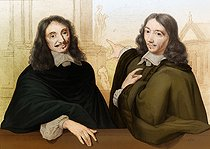 Pedretti (19th century) after Philippe de Champaigne. Claude Perrault (on the right, 1613-1688), French physician and architect, and Jules Hardouin-Mansart (1646-1708), French architect. Engraving. © Roger-Viollet