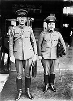 Sino-Japanese War. General Okamura (chief-of-staff of the Kwantung army) arriving in Tokyo with the Japan-Manchukuo protocol (Manchuria under Japanese protectorate). 1938-1939. © Roger-Viollet
