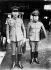 Guerre sino-japonaise. Le général Okamura (vice-chef de l'armée du Kouangtung) arrivant à Tokyo avec le protocole du Mandchoukouo (Mandchourie sous protectorat japonais). 1938-39. © Roger-Viollet