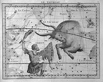 The Taurus, zodiacal sign, and the Orion constellation. Atlas by John Flamsteed (1646-1719), English astronomer. © Roger-Viollet