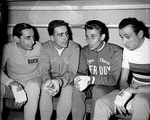 Fausto Coppi, Italian racing cyclist, Roger Rivière and Jacques Anquetil, French racing cyclists and Ercole Baldini, Italian racing cyclist (from left to right) during the Six jours of Paris. Vel' d'Hiv', on November 2, 1958. © Roger-Viollet