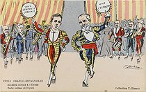 Visit in Paris of King Alfonso XIII of Spain (1886-1941). Franco-Spanish feasts : private party at the Elysée Palace. King Alfonso XIII and Emile Loubet (1838-1929), President of the French Republic. Drawing by T. Bianco. Paris, bibliothèque de l'Hôtel de Ville. © BHdV / Roger-Viollet