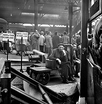 Strike of the SNCF, French railway company. France, on September 20, 1955. © Roger-Viollet