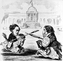 "Duel between Dominique Ingres and Eugène Delacroix, French painters : ""the line and the colour"". Satirical cartoon. © Roger-Viollet"
