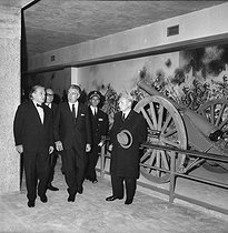Inauguration of the Memorial in Verdun (Meuse) by Henri Duvillard, Minister of War Veterans, and French writer Maurice Genevoix (right). September 17, 1967.   © LAPI/Roger-Viollet