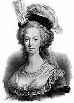 Marie-Antoinette (1755-1793), Queen of France and wife of Louis XVI (1755-1793). Lithograph by Maurin. French National Library. © LAPI/Roger-Viollet