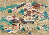 """Série """"Vue de temple"""", Japon. Peinture sur papier, XIXème siècle. Paris, musée Cernuschi. © Musée Cernuschi/Roger-Viollet"""