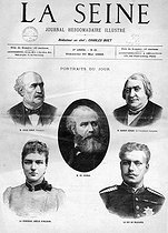 """""""La Seine"""", May 30, 1886. Portraits of Jules Simon, French politician, Charles Gounod, French composer, Ernest Renan, French writer, Princess Amélie of Orléans and the Duke of Braganza. © Roger-Viollet"""