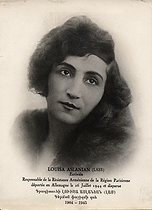 Louise Aslanian (Luisa, 1902/1906-1945), Armenian trade unionist, writer and poet. © Archives Manouchian / Roger-Viollet