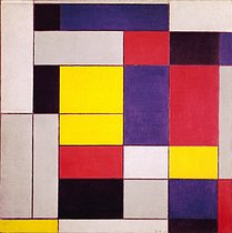 "Piet Mondrian (1872-1944), peintre hollandais. ""Composition en couleurs : gris, rouge, jaune, noir et blanc"". 1928. Collection privée.  © TopFoto / Roger-Viollet"