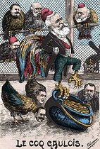 The Gallic cockerel. Satirical cartoon about Emile Loubet (1838-1929), French statesman. Humorous postcard, after 1903. © Roger-Viollet