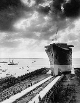 "Lauching of the French liner ""SS Normandie"" at the Penhoët shipyards (Saint-Nazaire, France), October 1932. © Roger-Viollet"