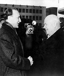 Nikita Khrouchtchev (1894-1971), homme d'Etat soviétique, et Janos Kadar (1912-1989), homme politique hongrois. Hongrie, 1959. © TopFoto / Roger-Viollet