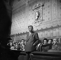 Pierre Laval testifying during Marshal Petain's trial. On the right: Josph Kessel and Madeleine Jacob. Paris, 1945. © Gaston Paris / Roger-Viollet