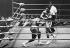 Combat entre Mac Foster (1942-2010) et Mohamed Ali (anciennement Cassius Marcellus Clay, 1942-2016), boxeurs américains. Tokyo (Japon), 1er avril 1972. © TopFoto / Roger-Viollet