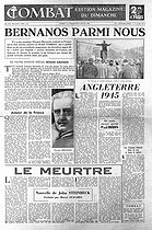 "Title page of the newspaper ""Combat"" of July 7-8, 1945. Article by Roger Grenier about Georges Bernanos's return in France ; life in London in 1945 ; short story by John Steinbeck translated by Marcel Duhamel. © Roger-Viollet"