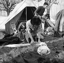 "World War II. Campers from the youth centre in the secular centre ""Nouveaux Horizons"". France, December 1940. Photograph by Roger Berson. © Roger Berson/Roger-Viollet"