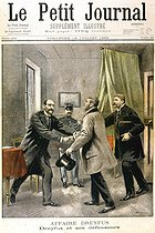 "Dreyfus affair. Trial in Rennes. Alfred Dreyfus and his defenders, Maitres Demange and Labori. Engraving by Eugène Damblans. From the newspaper ""Le Petit Journal"", on July 16, 1899. © Roger-Viollet"