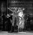 """""""Le Roi se meurt"""" by Eugène Ionesco. Direction : Jorge Lavelli. François Chaumette, Christine Fersen, Michel Aumont, Catherine Hiegel, Tania Torrens and Michel Duchaussoy. Paris, Théâtre de l'Odéon, November 1976. © Angelo Melilli / Roger-Viollet"""