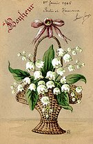 Basket of lily of the valley. Lucky charm postcard, about 1900. © Roger-Viollet