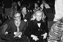 François Truffaut and Catherine Deneuve at the time of the farewells of Charles Trenet to the stage, at the Olympia. Paris, 1975. © Patrick Ullmann/Roger-Viollet