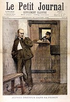 "Fortuné Louis Méaulle (1844-1901). Dreyfus affair. Alfred Dreyfus (1859-1935), French officer, at the Santé prison, 1895. Drawing from ""Le Petit Journal"", on January 20, 1895. © Roger-Viollet"
