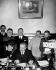 Molotov, ministre soviétique des Affaires étrangères, signant le pacte germano-soviétique de non-agression. Debout, derrière lui, Joachim von Ribbentrop et Joseph Staline. Moscou (URSS), 23 août 1939.      © US National Archives/Roger-Viollet