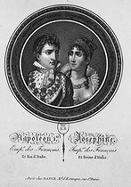 Napoleon I Bonaparte and Josephine de Beauharnais, Emperor and Empress consort of the French and King and Queen consort of Italy. Lithograph. Paris, French National Library.  © Roger-Viollet