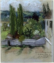 "Eugène Delacroix (1798-1863). The garden of Delacroix's house in Champrosay. Pastel on grey paper, note ""given to Jenny le Guillou on May 18, 1853 in Champrosay"". Paris, musée Delacroix. © Roger-Viollet"