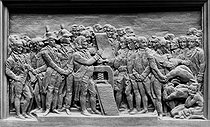 David d'Angers (1788-1856). The fathers of the American Revolution and the Statement of rights. Low relief forming the pedestal of Gutenberg's statue at the Imprimerie nationale (official printing works of the French government) in Paris. © Roger-Viollet
