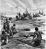 Christopher Columbus (circa 1451-1506) landing in San Salvador (Bahamas Islands), October 14, 1492. Engraving by E. Mancastroppa (19th century). © Roger-Viollet
