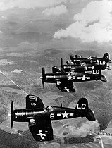 "Korean War (1950-1953). Squadron of F4U ""Corsair"", fighters of the US Air Force. © Roger-Viollet"