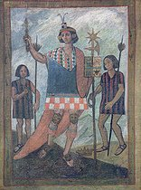 REV400276. Inhabitants of the New World encountered by Christopher Columbus on his first voyage in 1492 (oil on canvas). REV400276 Inhabitants of the New World encountered by Christopher Columbus on his first voyage in 1492 (oil on canvas) by Spanish School, (16th century); Monastery of La Rabida, Huelva, Andalusia, Spain; (add.info.: Cristobal Colon (1451-1506) landed at Guanahani (San Salvador) October 12, 1492; the crown lying on the ground and the banner with the heraldic emblems of Castile (tower) and the Habsburgs ( double headed eagle) indicate that this picture is an allegory of the conquest of the New World by Spain; Cristobal Colon (1451-1506) landed at Guanahani (San Salvador) October 12, 1492; the banner with the heraldic emblems of Castile and the Hapsburg eagle and the crown on the ground are symbolic of the conquest of the New World by Spain;); Spanish, out of copyright ©TCDL / The Image Works. © TCDL / The Image Works / Roger-Viollet