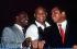 """Joe Frazier, George Foreman et Mohamed Ali, boxeurs américains réunis à l'Arena à l'occasion de la sortie du film """"Champions Forever"""". Londres (Angleterre), 17 octobre 1989. Photo : Mike Hewitt. © Mike Hewitt / TopFoto / Roger-Viollet"""