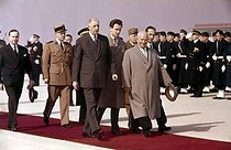 General Charles de Gaulle and Nikita Khrushchev. On the left, Michel Debré. Orly (Val-de-Marne), March 1960. © Roger-Viollet