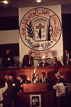 Yasser Arafat (1929-2004), chairman of the Palestine Liberation Organization, making a speech at the Palestinian National Council. Algiers (Algeria), November 1988. © Françoise Demulder / Roger-Viollet